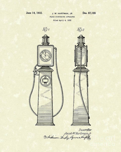 Pump Drawing - Fluid Dispenser 1932 Patent Art by Prior Art Design