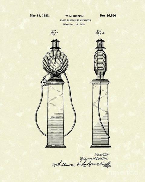 Pump Drawing - Fluid Pump 1932 Patent Art by Prior Art Design