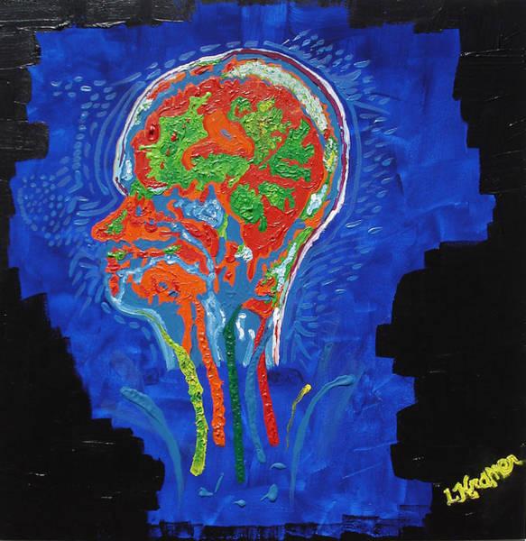 Brain Scan Painting - Fluorescent Brain N Bloom by Lisa Kramer