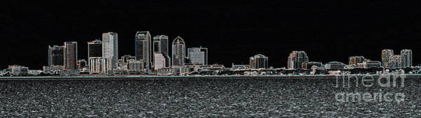 Photograph - Fluorescent Tampa Panorama by Carol Groenen