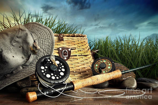 Photograph - Fly Fishing Equipment With Hat On Wooden Dock by Sandra Cunningham