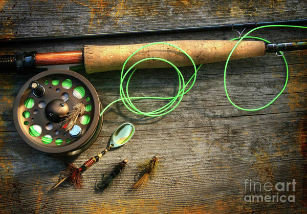 Angling Wall Art - Photograph - Fly Fishing Rod With Polaroids Pictures On Wood by Sandra Cunningham