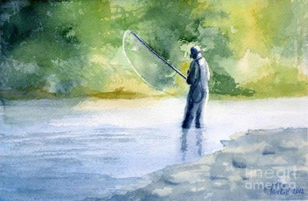 Painting - Flyfishing by Eleonora Perlic