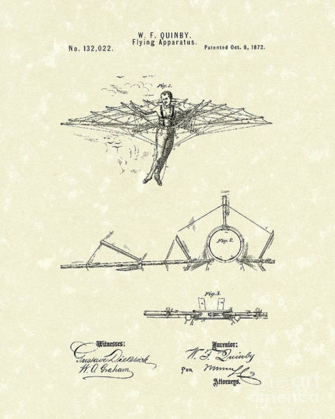 Apparatus Wall Art - Drawing - Flying Apparatus 1872 Patent Art by Prior Art Design