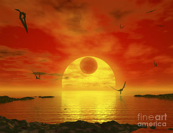Cosmology Digital Art - Flying Life Forms Grace The Crimson by Walter Myers