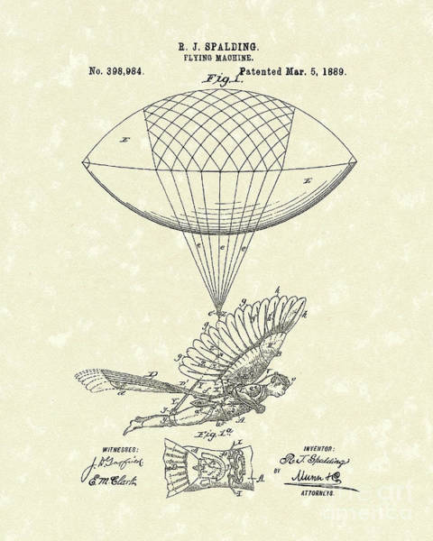 Flying Drawing - Flying Machine Spalding 1889 Patent Art by Prior Art Design