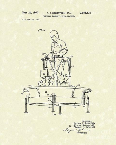 Drawing - Flying Platform 1960 Patent Art by Prior Art Design