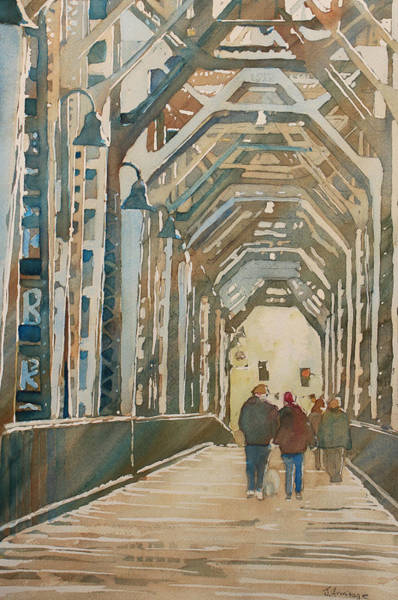 Trains Painting - Foggy Morning On The Railway Bridge One by Jenny Armitage