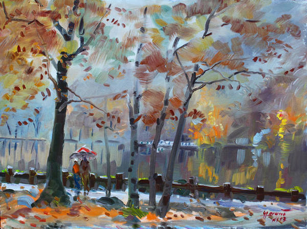 Foggy Wall Art - Painting - Foggy Rain By The Lake by Ylli Haruni
