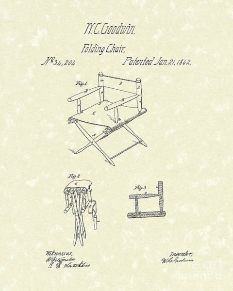 Chair Drawing - Folding Chair 1862 Patent Art  by Prior Art Design