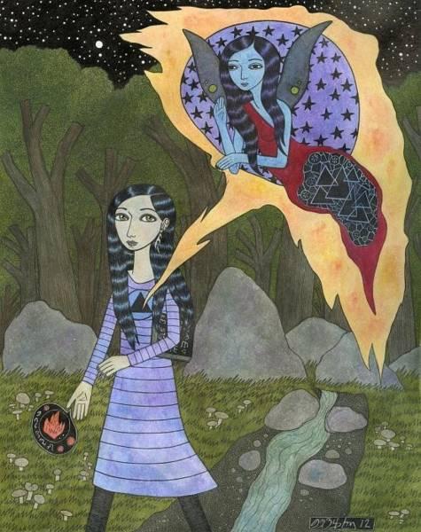 Psi Mixed Media - Followed By An Interdimensional Girl by Bethy Williams
