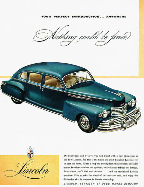 Photograph - Ford Lincoln Ad, 1946 by Granger
