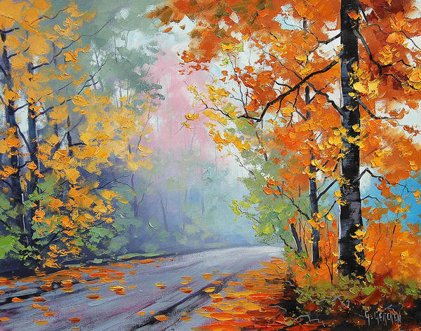 Yellow-orange Painting - Forest Road by Graham Gercken