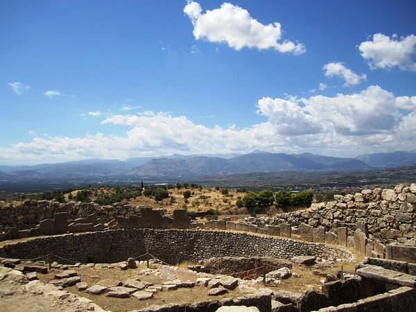 Photograph - Forever View From The Ancient Hilltop Mountain Range And Archeological Structures In Mycenae Greece by John Shiron