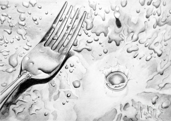 Painting - Fork And Drops by Eleonora Perlic