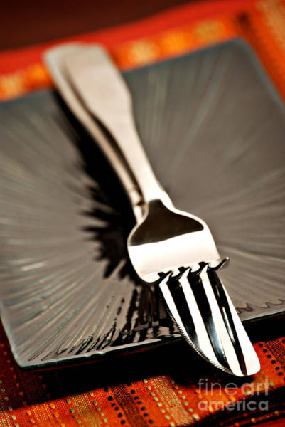 Silverware Photograph - Fork And Knife by HD Connelly