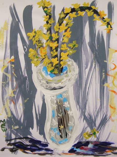 Forsythia Painting - Forsythia In Old Clear Vase Mary Carol by Mary Carol Williams