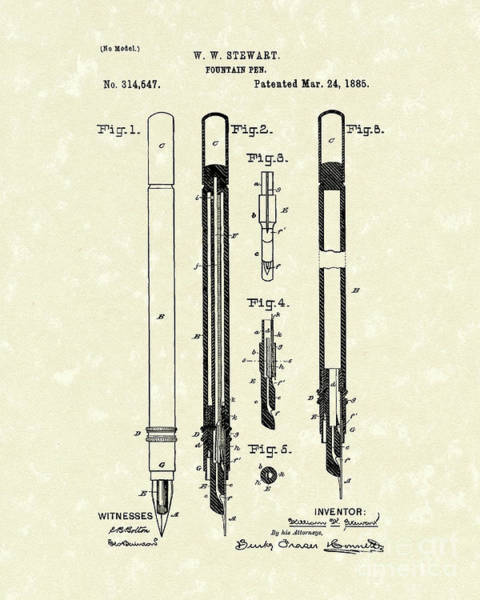 1885 Wall Art - Drawing - Fountain Pen 1885 Patent Art by Prior Art Design