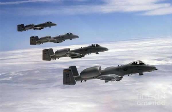 Photograph - Four A-10 Thunderbolt IIs Fly by Stocktrek Images