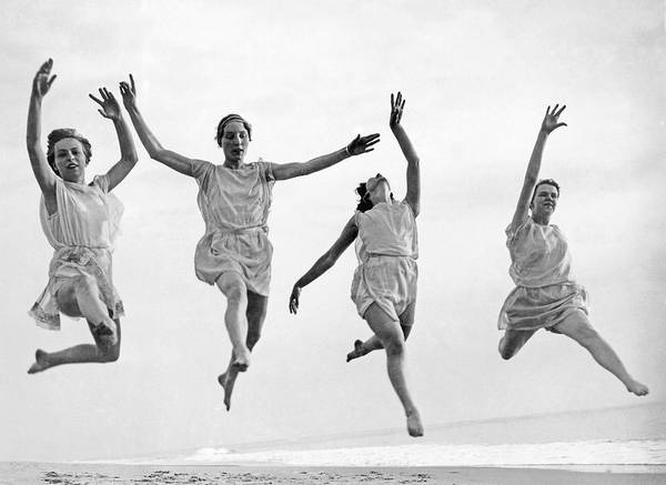 Grecian Photograph - Four Dancers Leaping by Underwood Archives