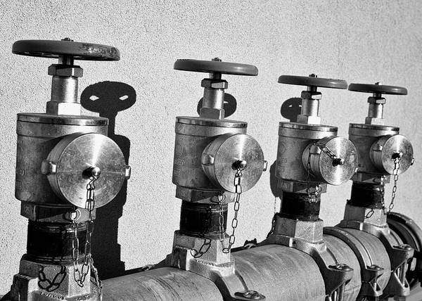 Photograph - Four Emergency Water Valves - Bw by Trever Miller