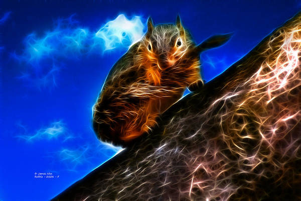 Fractal - How Do You Like My Mustache - Robbie The Squirrel Art Print