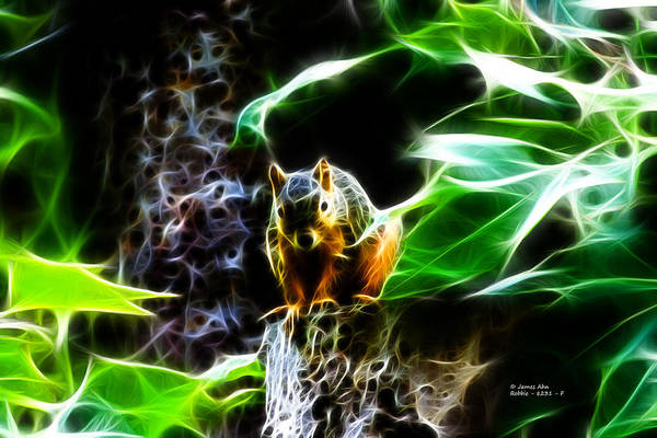 Digital Art - Fractal - Sitting On A Stump - Robbie The Squirrel - 2831 by James Ahn