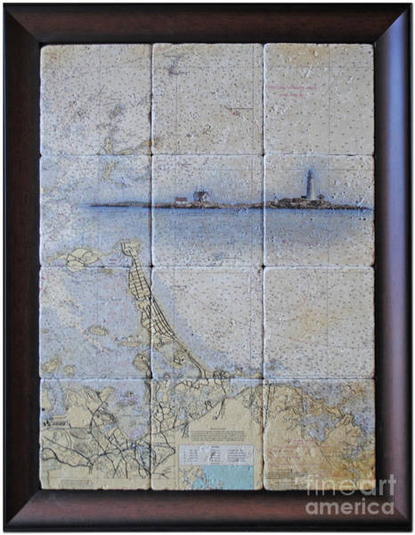 Noaa Chart Wall Art - Digital Art - Framed Nautical Chart Of Hingham And Hull With Boston Light  by Creative Images on Tile
