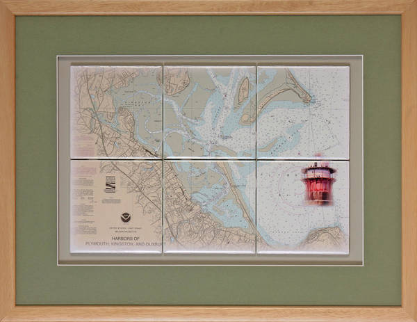 Wall Art - Mixed Media - Framed Plymouth Bay With Lighthouse Tile Set by P Anthony Visco