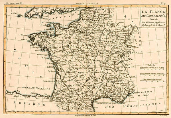Mapping Drawing - France By Regions by Guillaume Raynal