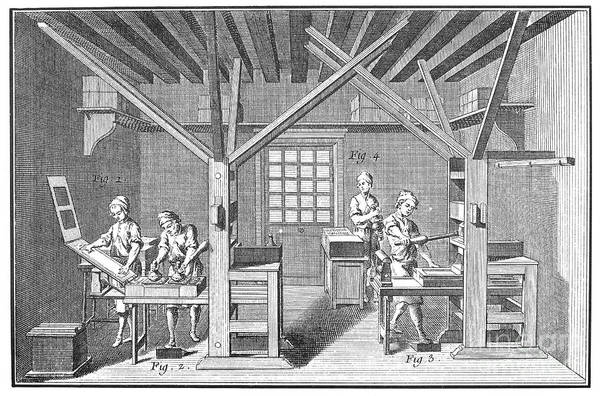 Photograph - France: Print Shop, 1751 by Granger