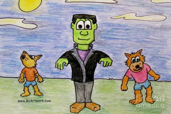 Trick Or Treat Drawing - Frank And Wolfies by Bruce Semon