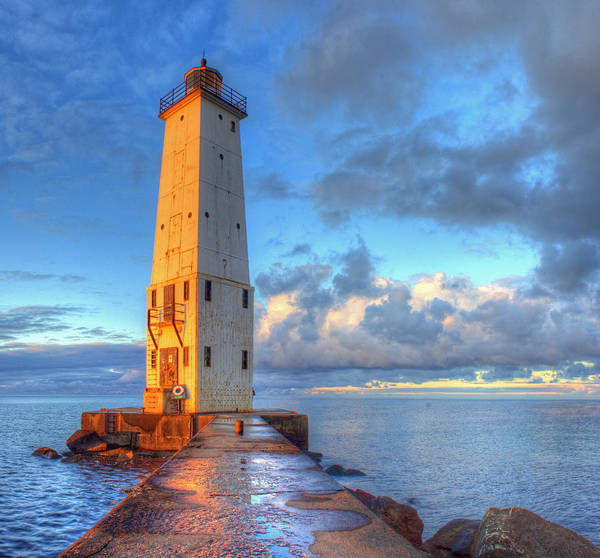 Two Harbors Photograph - Frankfort Michigan Lighthouse by Twenty Two North Photography