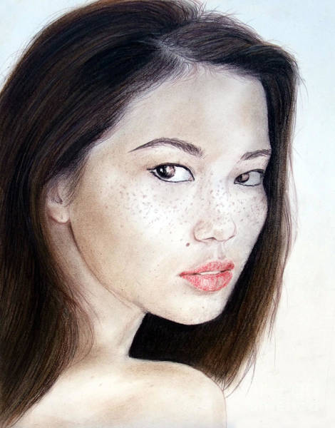 Freckle Drawing - Freckle Faced Asian Model by Jim Fitzpatrick