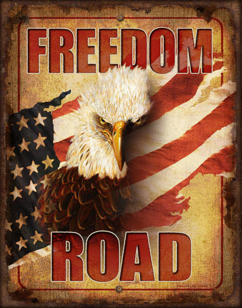 Wall Art - Painting - Freedom Road Sign by JQ Licensing