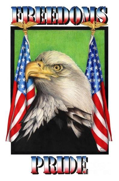 Avian Drawing - Freedoms Pride by Sheryl Unwin