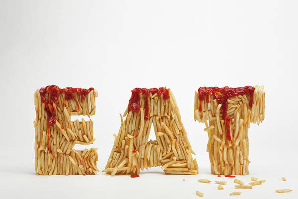 Text Photograph - French Fries Molded To Make The Word Fat by Caspar Benson