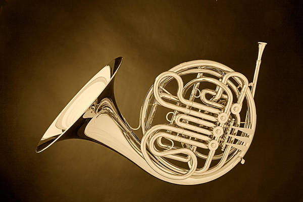 French Horn In Antique Sepia Art Print