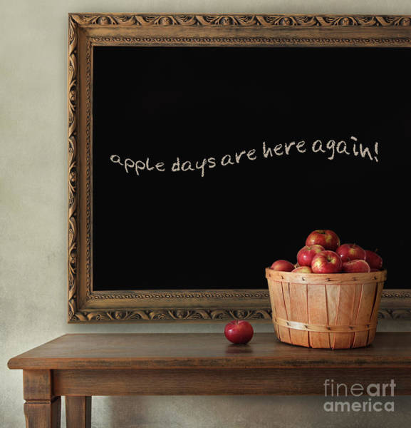 Red Delicious Apple Photograph - Fresh Apples On Wooden Table With Blackboard by Sandra Cunningham