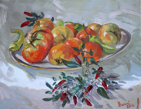 Still-life Painting - Fresh From The Garden by Ylli Haruni