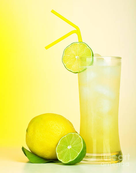 Soda Straws Photograph - Fresh Lemon Juice by Anna Om