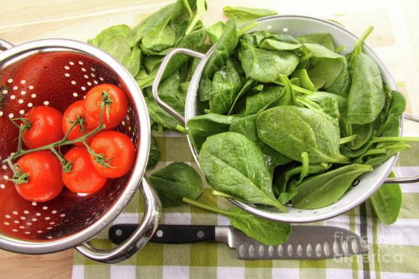 Chive Photograph - Fresh Spinach Leaves With Tomatoes  by Sandra Cunningham