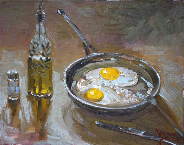 Olive Wall Art - Painting - Fried Eggs by Ylli Haruni