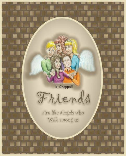 Wall Art - Mixed Media - Friends And Angels by Karen Chappell