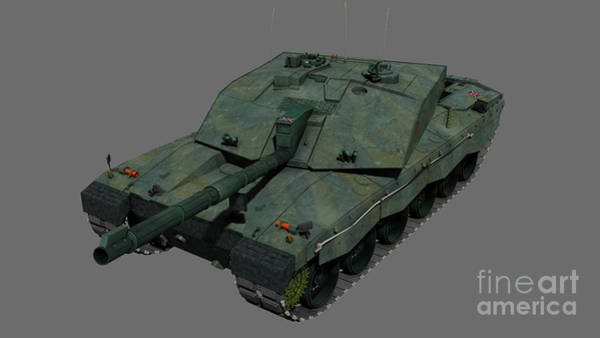 Artillery Digital Art - Front View Of A British Challenger II by Rhys Taylor