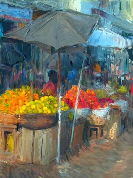 Usha Painting - Fruit Market by Usha Shantharam