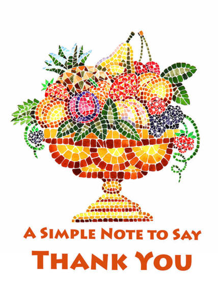 Painting - Fruit Mosaic Thank You Note by Irina Sztukowski