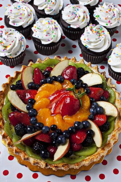 Tart Wall Art - Photograph - Fruit Tart Pie And Cupcakes  by Garry Gay