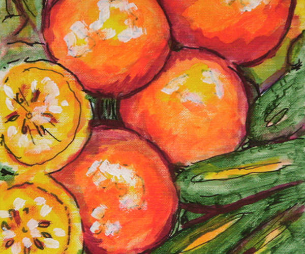 Wall Art - Painting - Fruits And Veggies Medley 1 by Laura Heggestad