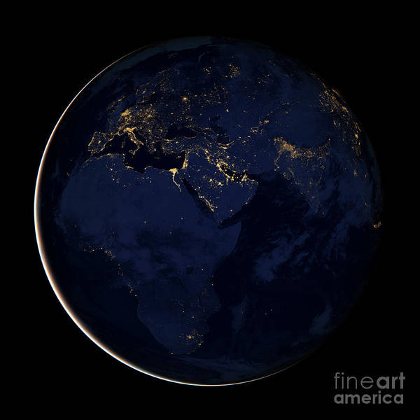 Photograph - Full Earth Showing City Lights by Stocktrek Images